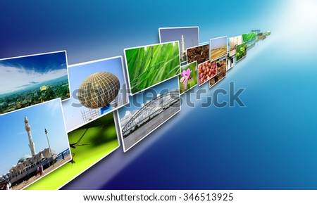 Internet concept, Images stream on internet sharing media over blue background - stock photo