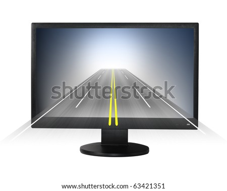 Internet concept. Lcd monitor with road forward. - stock photo