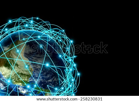Internet Concept of global business and major air routes based on real data. Highly detailed planet Earth at night, surrounded by a luminous network, 3d render. - stock photo