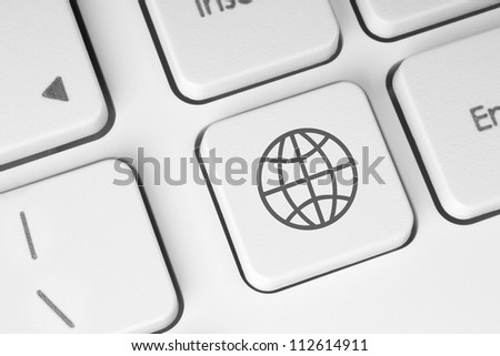 Internet concept on keyboard background - stock photo