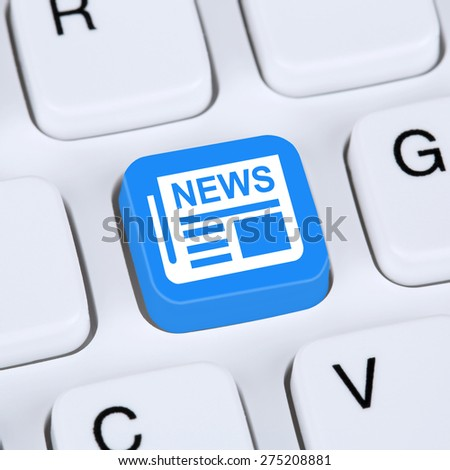 Internet concept online information newspaper news button on computer - stock photo