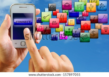 internet connection by smart phone - stock photo