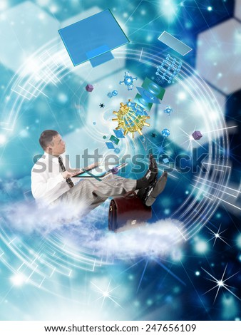 Internet connection technology.Cosmos communication - stock photo