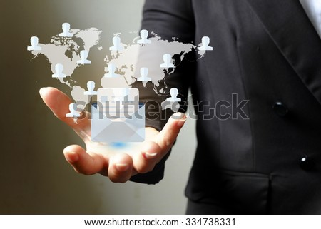 internet contract mail around world on hand business woman  , Business idea concept