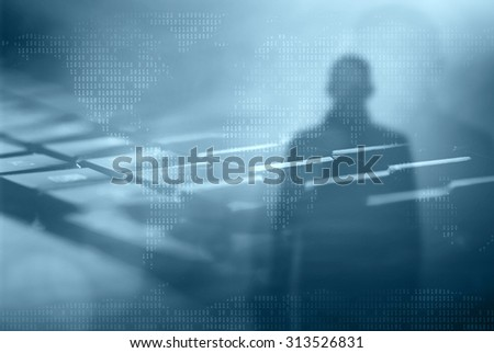 Internet crime concept.Hacker on dark blue digital background  - stock photo