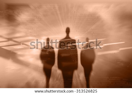 Internet crime concept.Hackers on dark brown digital background - stock photo