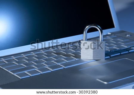 internet cyber laptop computer security lock - stock photo