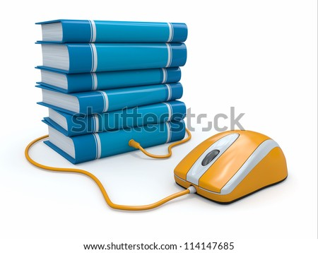 Internet education. Books and computer mouse. 3d - stock photo