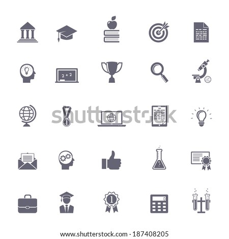 Internet education icons illustration: research, knowledge and experiments - stock photo