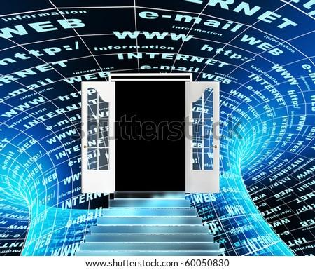 Internet - entrance in virtual world - stock photo