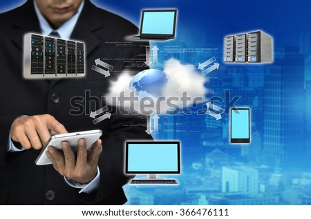 Internet for business conceptual image. Businessman using internet information technology to communicate, share and access global information.