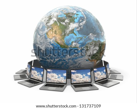 Internet. Global communication. Earth and laptop on white isolated background. 3d