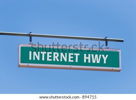 internet highway sign against beautiful blue sky - stock photo
