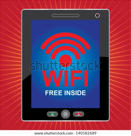 Internet Hotspot, Internet Cafe or Technology Concept Present By Black Tablet PC With Blue Screen and Wifi Free Inside Sign in Red Shiny Background - stock photo