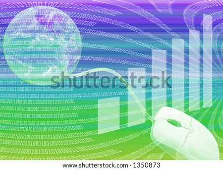 Internet Illustration with Globe, Computer Mouse and Binary Code - stock photo