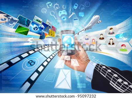 Internet in a smart phone. Conceptual image about how a smartphone connect to worldwide information and multimedia sharing. - stock photo