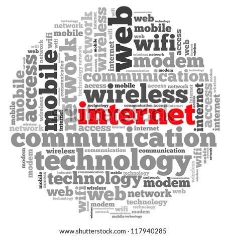 Internet info-text graphics and arrangement concept on white background (word cloud)