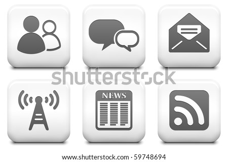 Internet Information Icons on Square Black and White Button Collection Original Illustration - stock photo