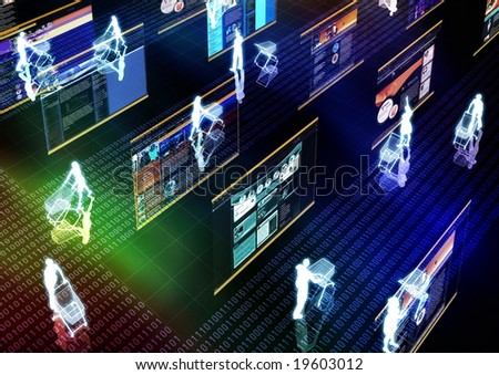 Internet Lifestyle illustrated with people doing shopping activity in futuristic virtual world.