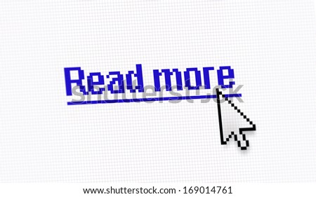 "Internet link title ""Read more"" screen photo with pixels cell"