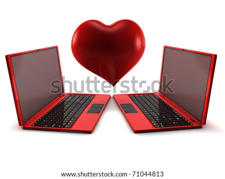 Internet Love concept. 3D render isolated on white. - stock photo