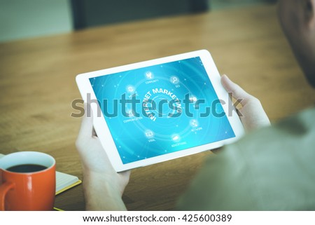 INTERNET MARKETING chart with keywords and icons on screen - stock photo