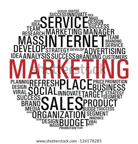 Internet Marketing concept words circle isolate over white. - stock photo