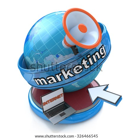 Internet Marketing - Earth globe with a megaphone and mouse cursor  - stock photo