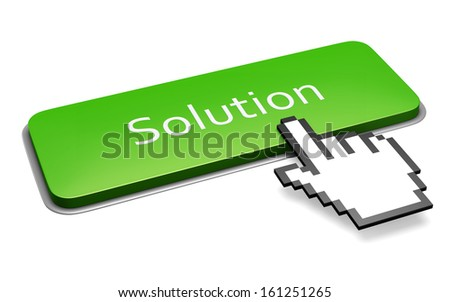 Internet media business concept. Green button with Solution text and computer mouse hand pointer isolated on white background.