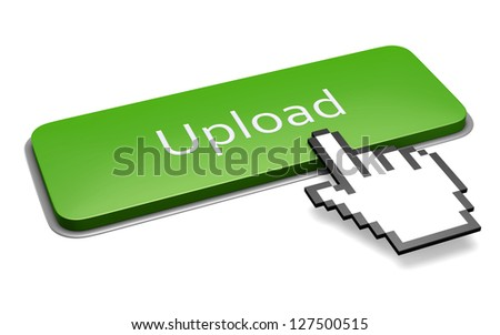 Internet media concept: green upload button and pixelated hand cursor isolated on white. 3d illustration. - stock photo