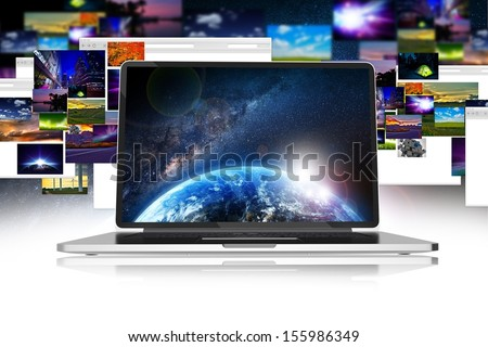 Internet Media Download and Sharing. Photos and Images Sharing and Download Abstract Concept Illustration. Web Ideas Collection. Computer Display. - stock photo