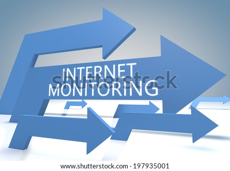 Internet Monitoring 3d render concept with blue arrows on a bluegrey background. - stock photo