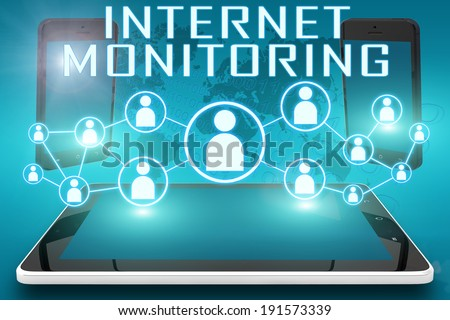 Internet Monitoring - text illustration with social icons and tablet computer and mobile cellphones on cyan digital world map background - stock photo