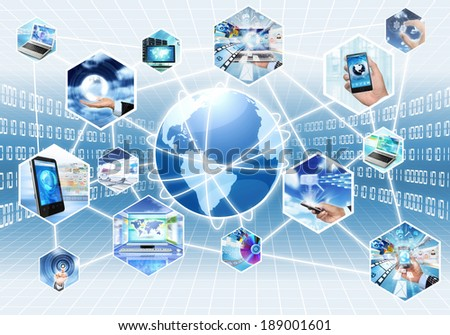 Internet multimedia concept with all gadget and computers connected to each other - stock photo