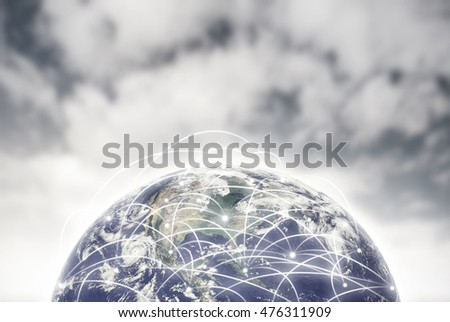 Internet network of global business, Globalization concept. Elements of this image are furnished by NASA