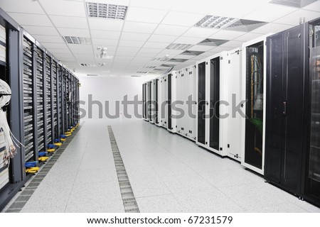 internet network server room with computers racks and digital receiver for digital tv - stock photo