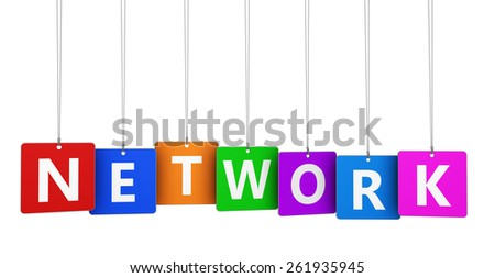Internet networking concept with network sign and word on colorful hanged tags design for blog and web business isolated on white background. - stock photo