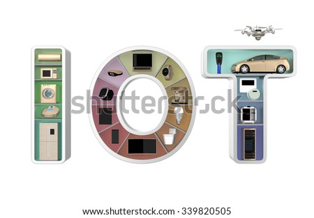 Internet of Things Concept for home appliances. Original design. - stock photo
