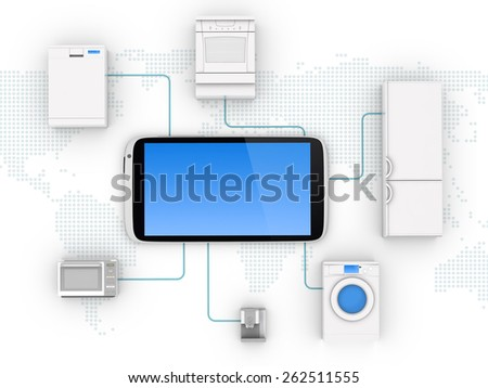 Internet of Things Concept - Home Appliances Connected To Smartphone - stock photo
