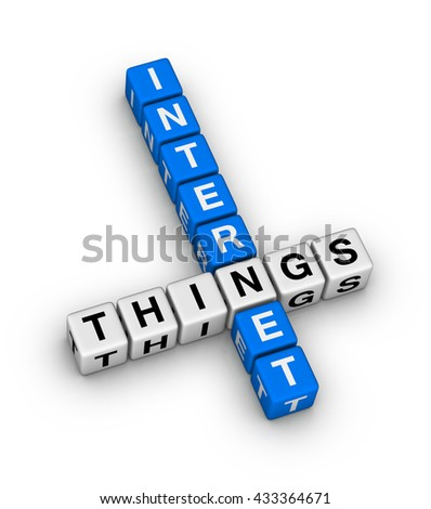 Internet Of Things IOT crossword puzzle 3d illustration - stock photo
