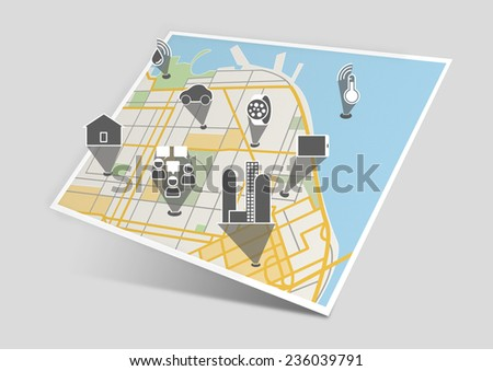 Internet of things showing the connectivity of different devices and objects like cars, industry, buildings, sensors, people, homes with flat design on a map - stock photo