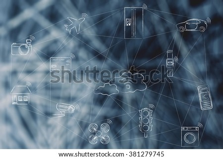 internet of things, smart connected objects communicating over a network (hand drawn low-poly inspired)(credit card intentionally designed with unmatchable shorter than usual number ending in -X) - stock photo