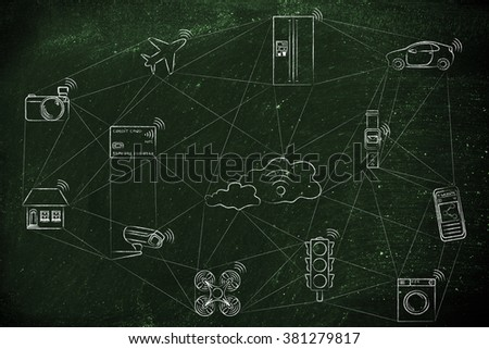 internet of things, smart connected objects communicating over a network (hand drawn low-poly inspired) (credit card intentionally designed with unmatchable shorter than usual number ending in -X)
