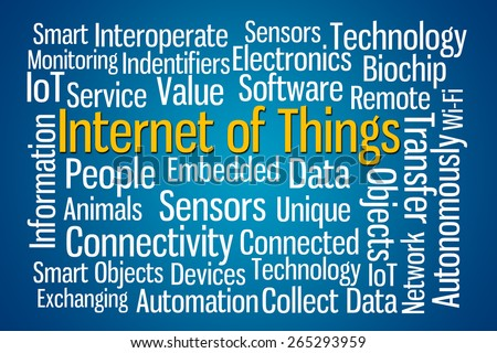 Internet of Things word cloud on blue background - stock photo