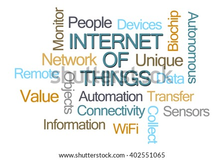 Internet of Things Word Cloud on White Background - stock photo