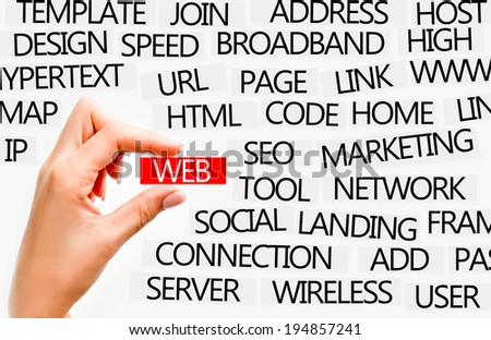 Internet or web concept described with words - stock photo