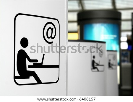 Internet point - public wireless access - stock photo