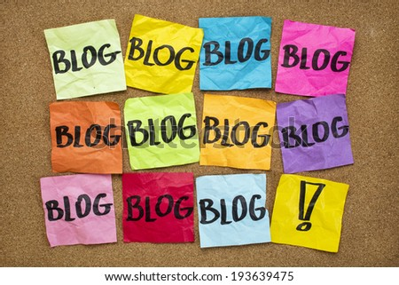 internet presence concept - multiple sticky note reminders - blog - stock photo