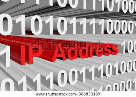 Internet Protocol Address is presented in the form of binary code - stock photo