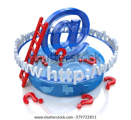 Internet scene - e-mail concept and questions in the design of information related to the Internet and communication - stock photo